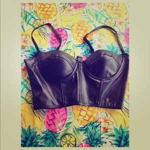 Black leather bustier